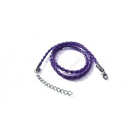 1 tour de cou imitation cuir tréssé violet