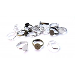 lot de 5 supports de bague argenté 8mm