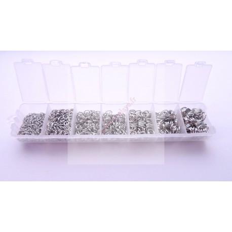 Boite de 1500 anneaux en métal argentés foncés 3mm - 4mm - 5mm - 6mm - 7mm - 8mm