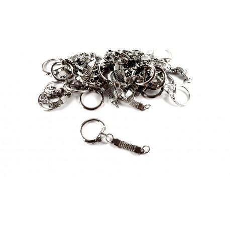30 portes-clefs chainette à clips argentés 6cm