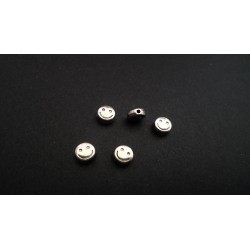 Lot de 5 perles smiley argentés vieilli 6mm