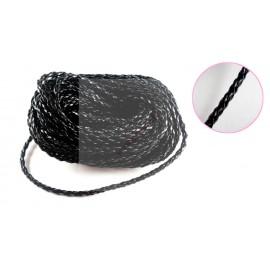 10 mètres de cordon en simili cuir noir tréssés 3mm