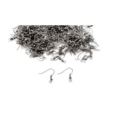 400 crochets pour boucle d'oreille argentés foncés