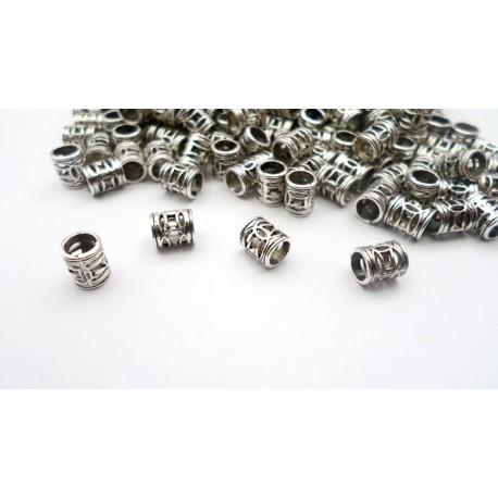 Lot de 100 perles tubes argentés vieilli 7mm