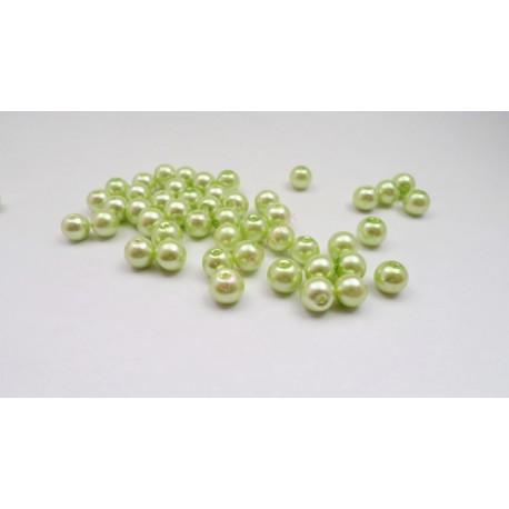 Lot de 50 perles en verre nacré 8mm verte