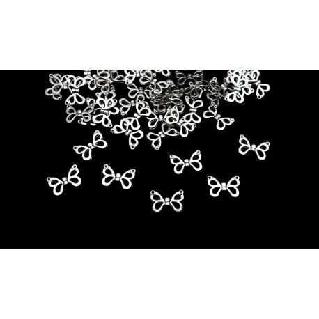 Lot de 50 perles ailes de fées argentées en métal 15mm