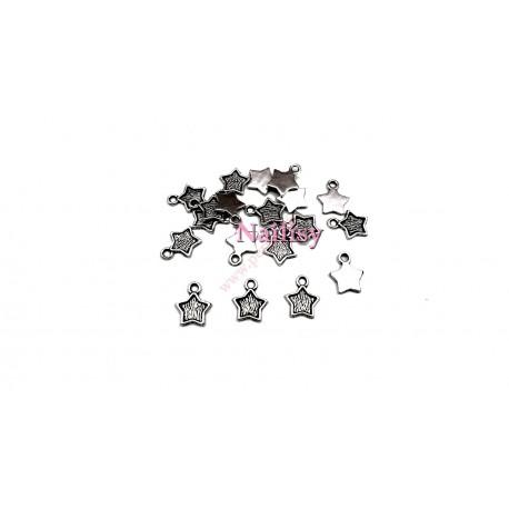 Lot de 20 breloques étoiles argentées