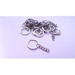 100 anneaux porte-clefs à chaine 5cm