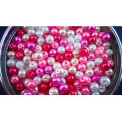 Mix de 150 perles nacrées en verre PINKLOVE : rouge, rose, fushia, blanc