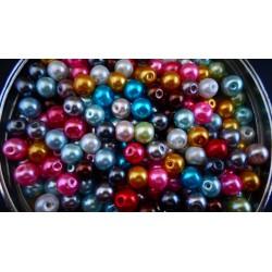 Mixte de 200 perles nacrées en verre