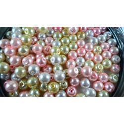 Mix de 150 perles nacrées en verre DOUCEUR : rose, jaune, blanc