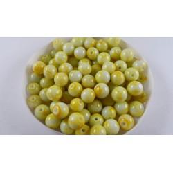 Lot de 100 perles en verre jaune - blanche effet tacheté