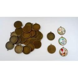 Lot de 30 supports cabochons bronze de 25mm