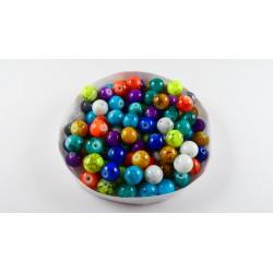 Mix de 100 perles en verre 8mm effet tacheté