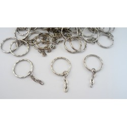 50 anneaux porte-clefs chaines argentés