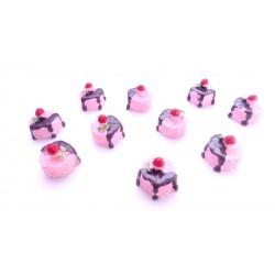 Lot de 3 cabochons en résine fondant à la fraise 1,6cm