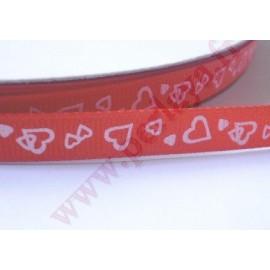 4 mètres de ruban 9mm rouge thème coeur