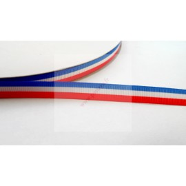 4 mètres de ruban 9mm thème drapeau France bleu blanc rouge