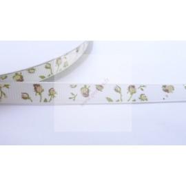4 mètres de ruban 9mm motif fleur