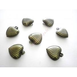 Lot de 15 breloques coeur filigranées en métal bronze 2.3cm