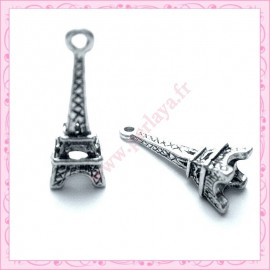 Lot de 15 breloques Tour Eiffel en métal argentés