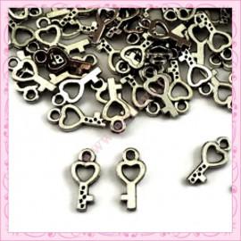 Lot de 100 breloques clefs argentées 1.6cm