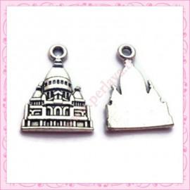 Lot de 15 breloques Taj Mahal en métal argentées 2.3cm