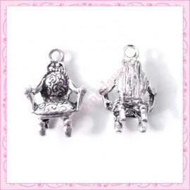 Lot de 15 breloques fauteuil style Louis XV en métal argentées 1.9cm