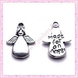 Lot de 15 breloques anges en métal argentées 1.8cm