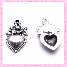 Lot de 15 breloques coeur en métal argentées 1.8cm