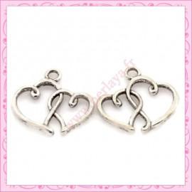 Lot de 15 breloques coeur en métal argentées 2cm