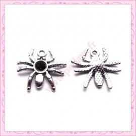 Lot de 15 breloques araignées en métal argentées 2.2cm