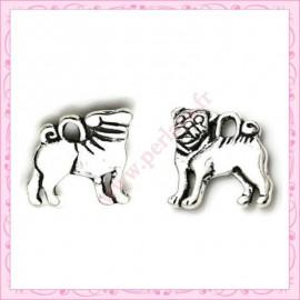 Lot de 15 breloques chiens en métal argentées 1.6cm