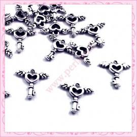 Lot de 20 breloques clefs argentées