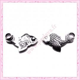 Lot de 15 breloques poisson en métal argentées 2.7cm