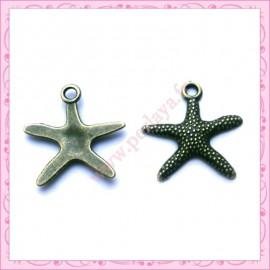 Lot de 15 breloques étoile de mer en métal bronze 2cm