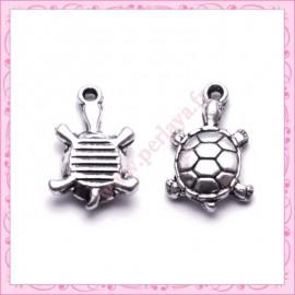 Lot de 15 breloques tortue en métal argentées 1.8cm