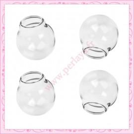 5 Globes en verre rond double trou de 25mm