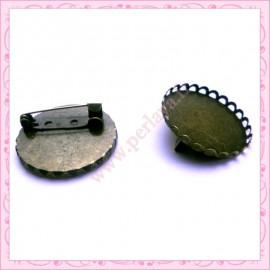Lot de 2 supports de broches bronze 30mm pour cabochons et globes