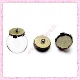 Lot de 5 bélières bronze pour globe 15mm