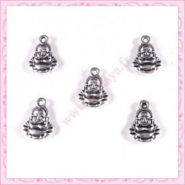 Lot de 15 breloques bouddha en métal argentées 1.4cm