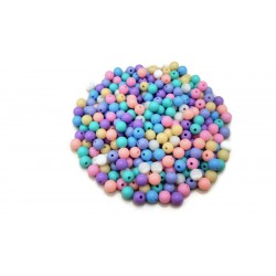 Lot de 300 perles rondes pastel en acrylique 8mm