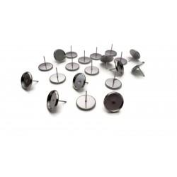 Lot de 20 clous pour boucle d'oreille argentés avec support de 12mm