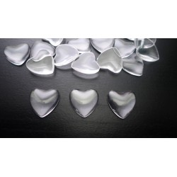 Lot de 20 cabochons en verre coeur 20mm transparent