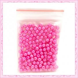 Lot de 200 perles nacrées en verre rose fushia 4mm