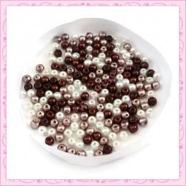 Mix de 200 perles nacrées en verre marron 4mm