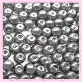 Lot de 200 perles nacrées en verre gris hématite 6mm