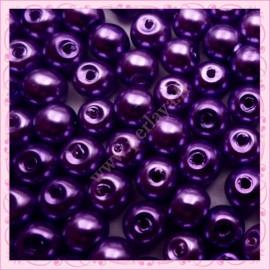 Lot de 200 perles nacrées en verre violette 6mm