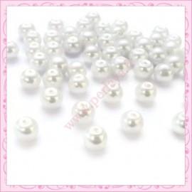 Lot de 50 perles en verre nacré 8mm blanche
