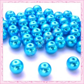 Lot de 50 perles en verre nacré 8mm bleu